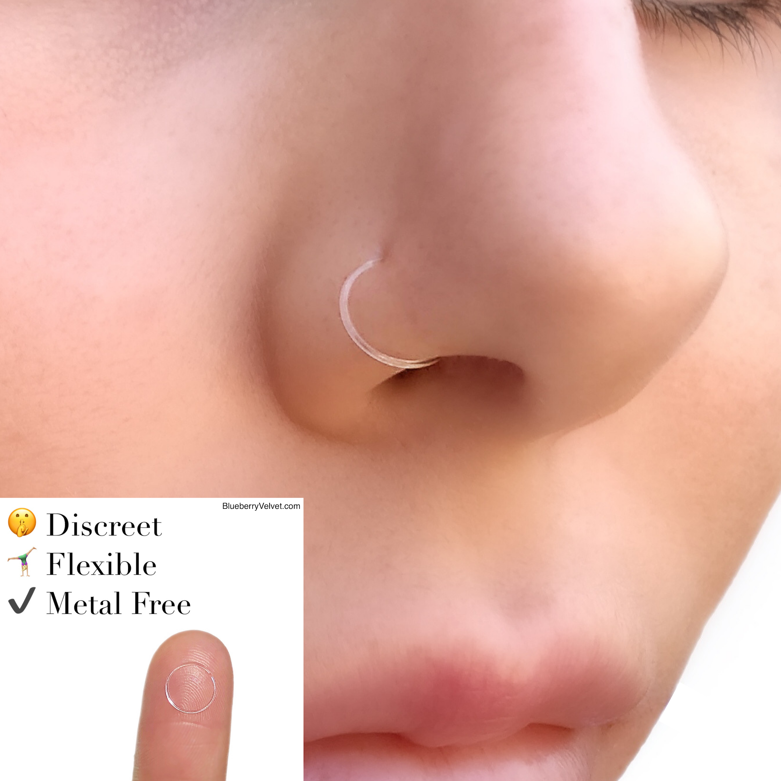 Clear Nose Ring Retainer Septum Ring Bioflex Clear Nose Stud Etsy Piercing Retainers Nose Stud Nose Piercing