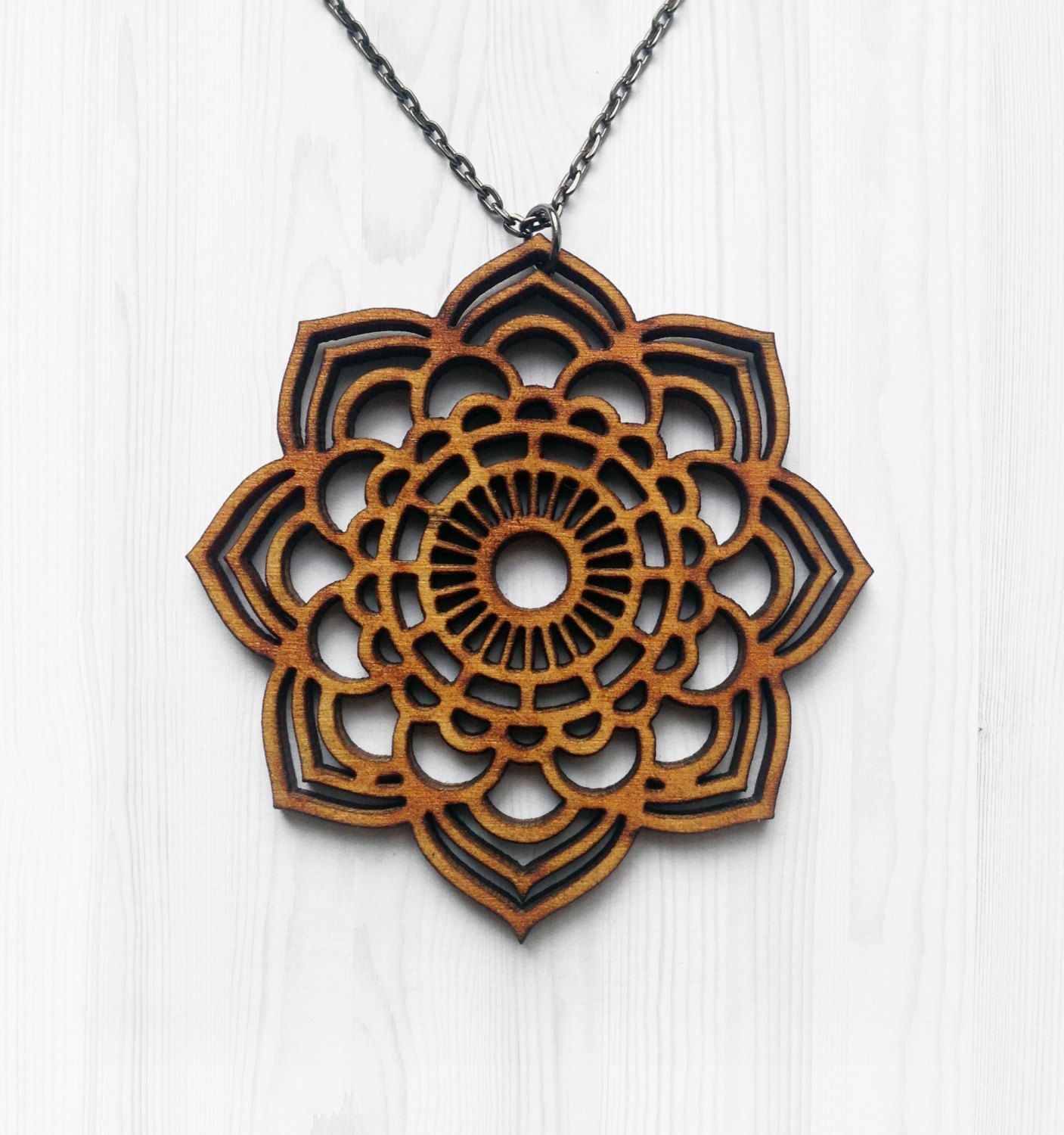 Mandala statement necklace wooden necklace laser cut jewelry laser