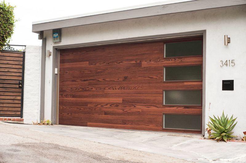 Chi Model 3216 In Dark Oak With Stacked Windows Contemporary Garage Doors Garage Door Styles Modern Garage