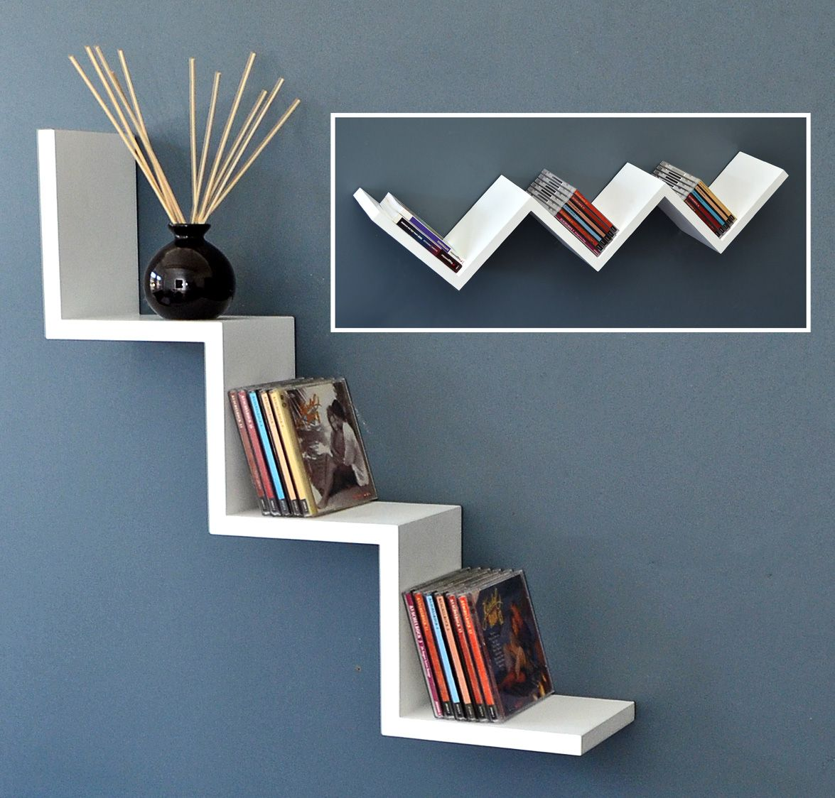 Zig Zag Wall Shelves Shelf Lounge Design Retro Cd Dvd Rack White New