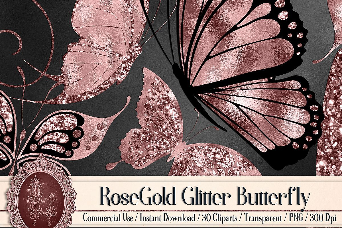 30 Rosegold Glitter Foil Wedding Butterfly Digital Images 238195 Scrapbooking Design Bundles Scrapbook Designs Butterfly Wedding Butterfly Clip Art