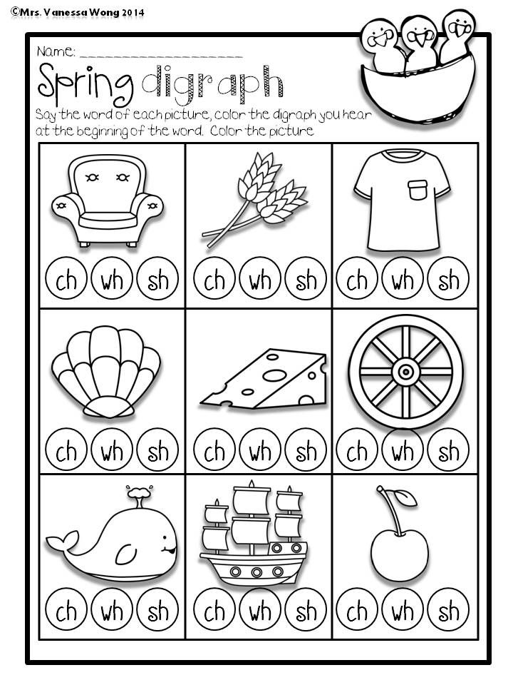 Printable Worksheets ch sh th worksheets : Spring Math and Literacy No Prep Printables Kindergarten | Vowel ...