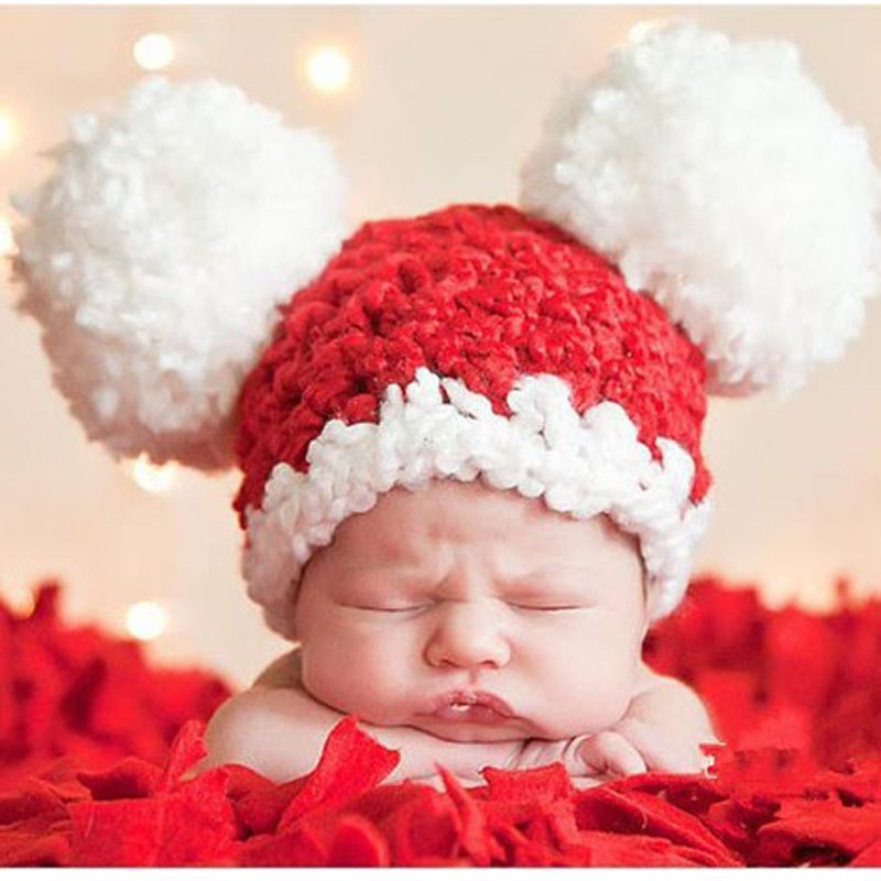 Pom pom baby hat crochet pattern newborn toddler beanie hat knitted winter x xmas cap photography props 1pc h067