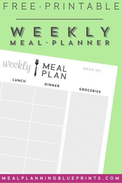 Weekly Meal Planner  Free Printable  Meal Planning  Pantry