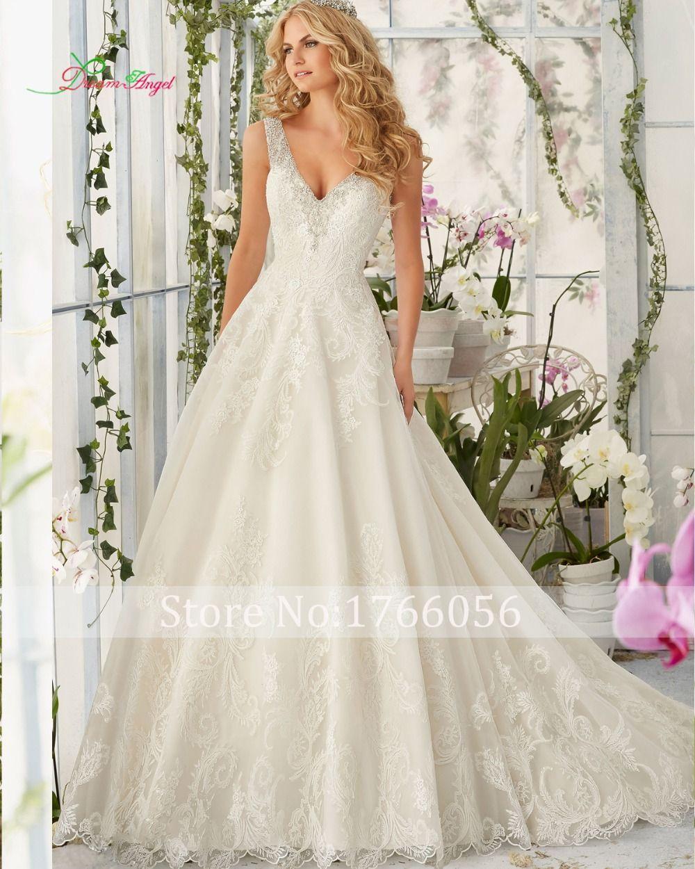 Silver wedding dresses plus size  New Designer V Neck Appliques A Line Lace Vintage Wedding Dress