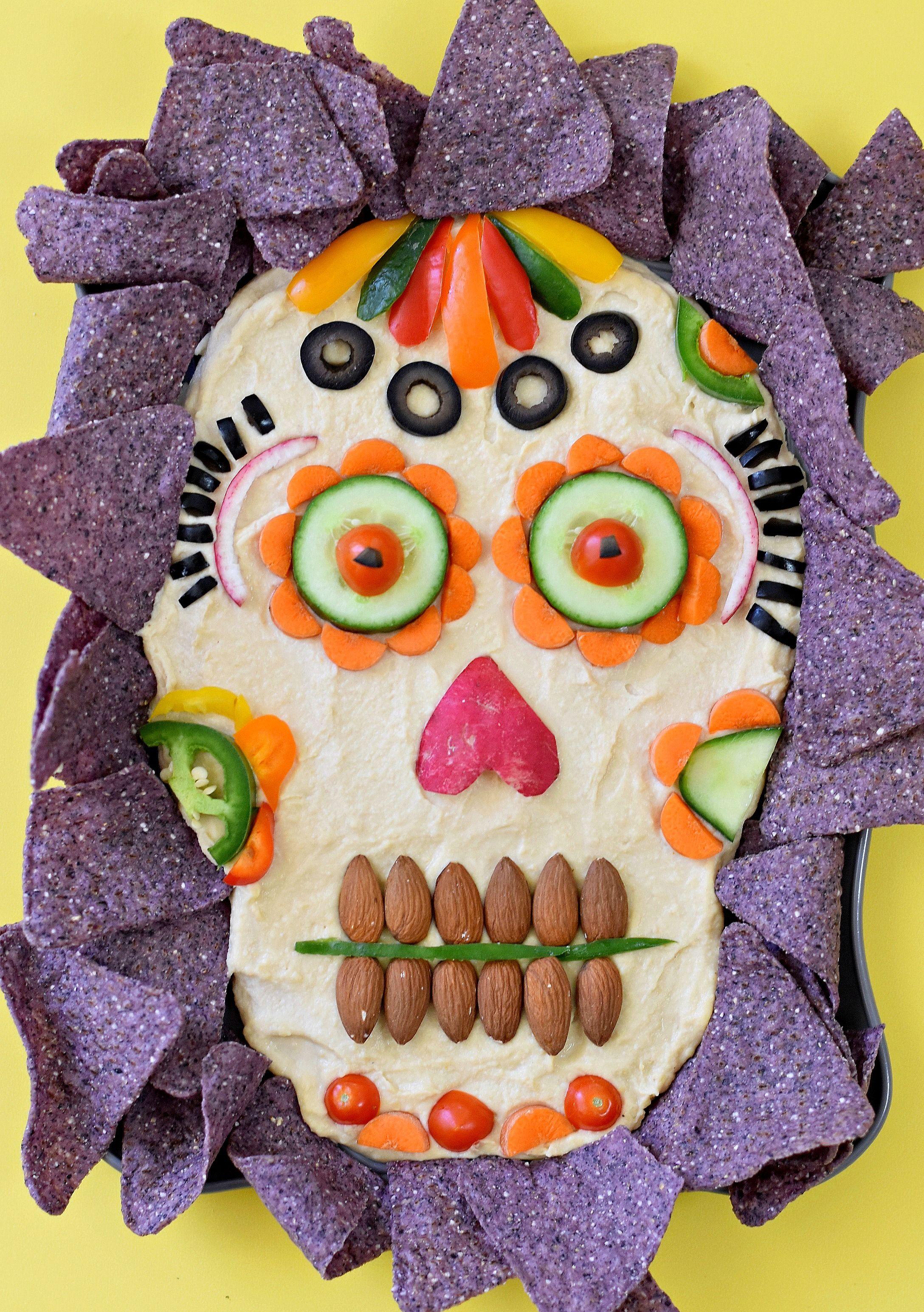 Dia De Los Muertos Hummus Dip Fork And Beans Recipe Creepy Halloween Food Halloween Potluck Vegan Halloween Food