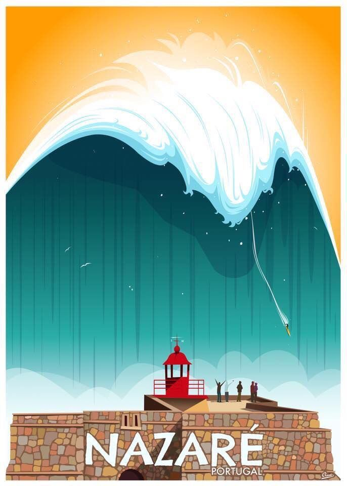 Photo of Nazaré, Portugal Vintage surf poster art by Damien Clavé. #traveltoportugal Na …