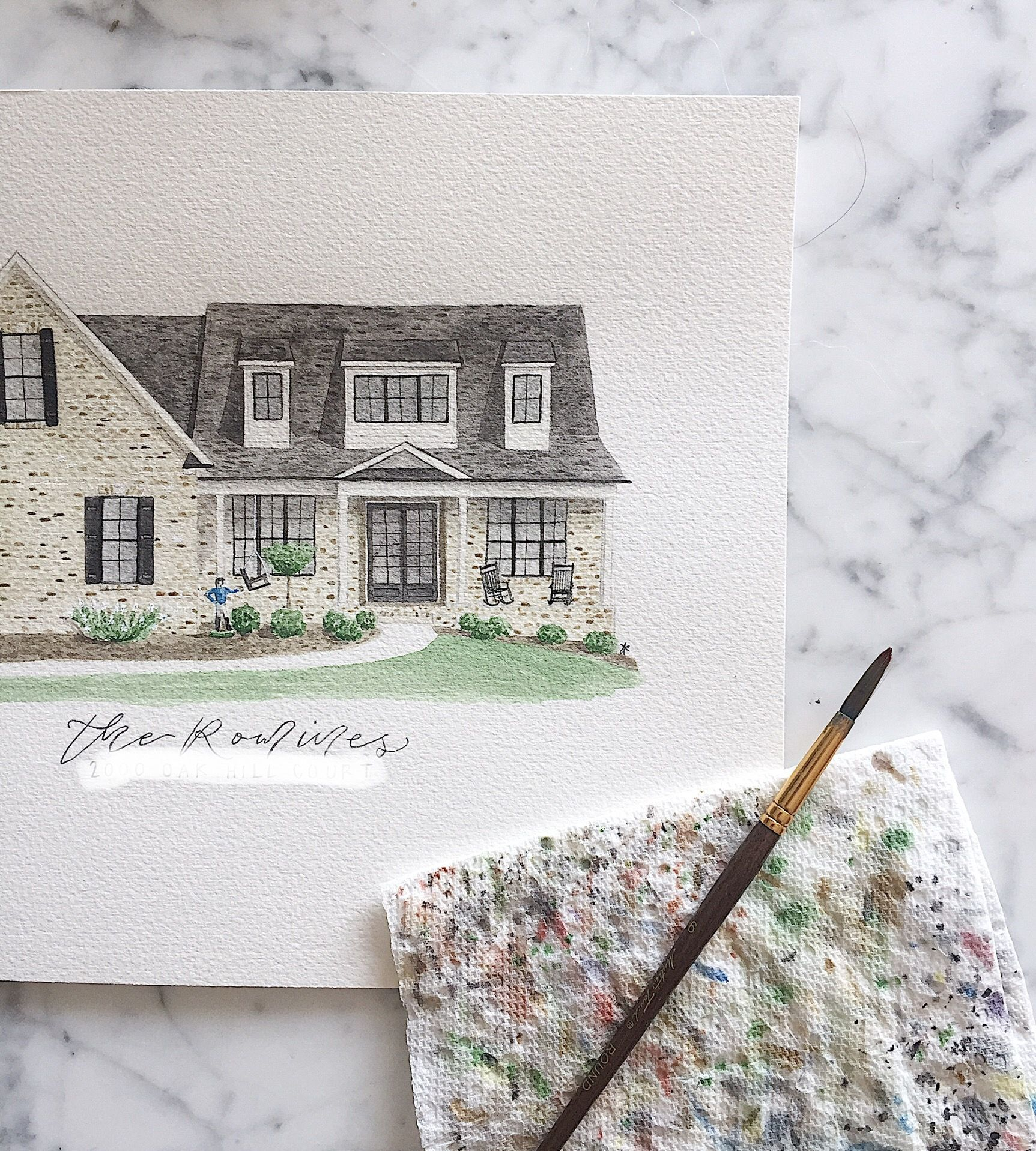Beautiful watercolor painting of a Kentucky home complete with a jockey #family #familygift #watercolor #watercolorhousepainting #watercolorhouse #home #house #homesweethome #housepainting #custompainting #realtor #realtorgift #housewarminggift #childhoodhome #memory #memories #watercolorhouseportrait