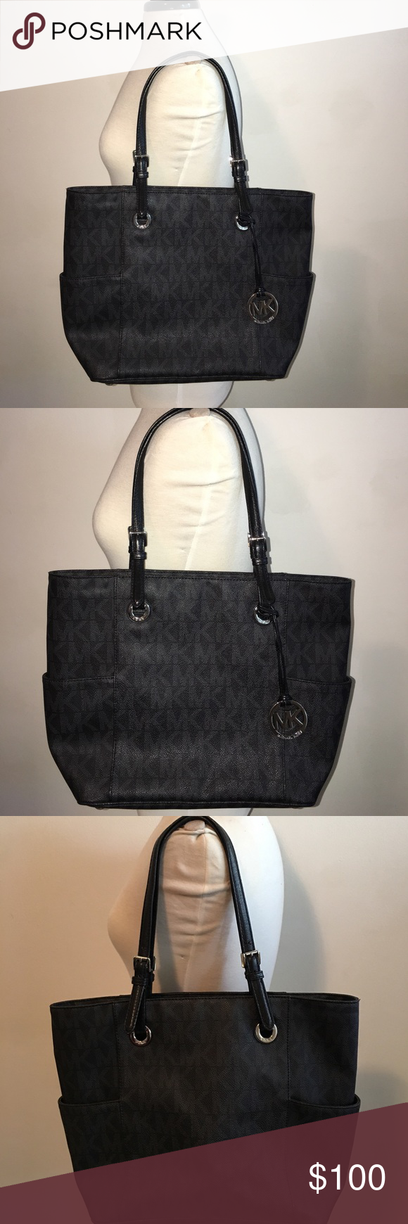 361a1a85fdd4b1 Real Michael Kors Black Monogram Tote bag. Real Michael Kors Black Monogram Tote  bag,
