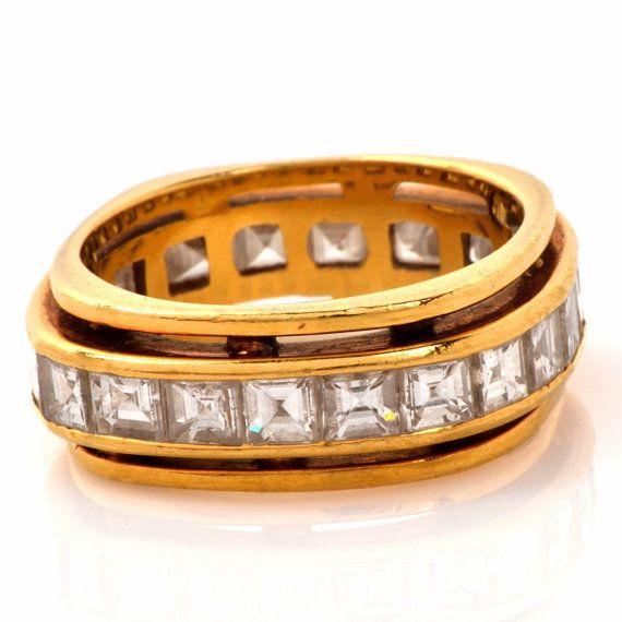 Estate 2.85ct Asscher cut Diamond Yellow Gold by DoverJewelry