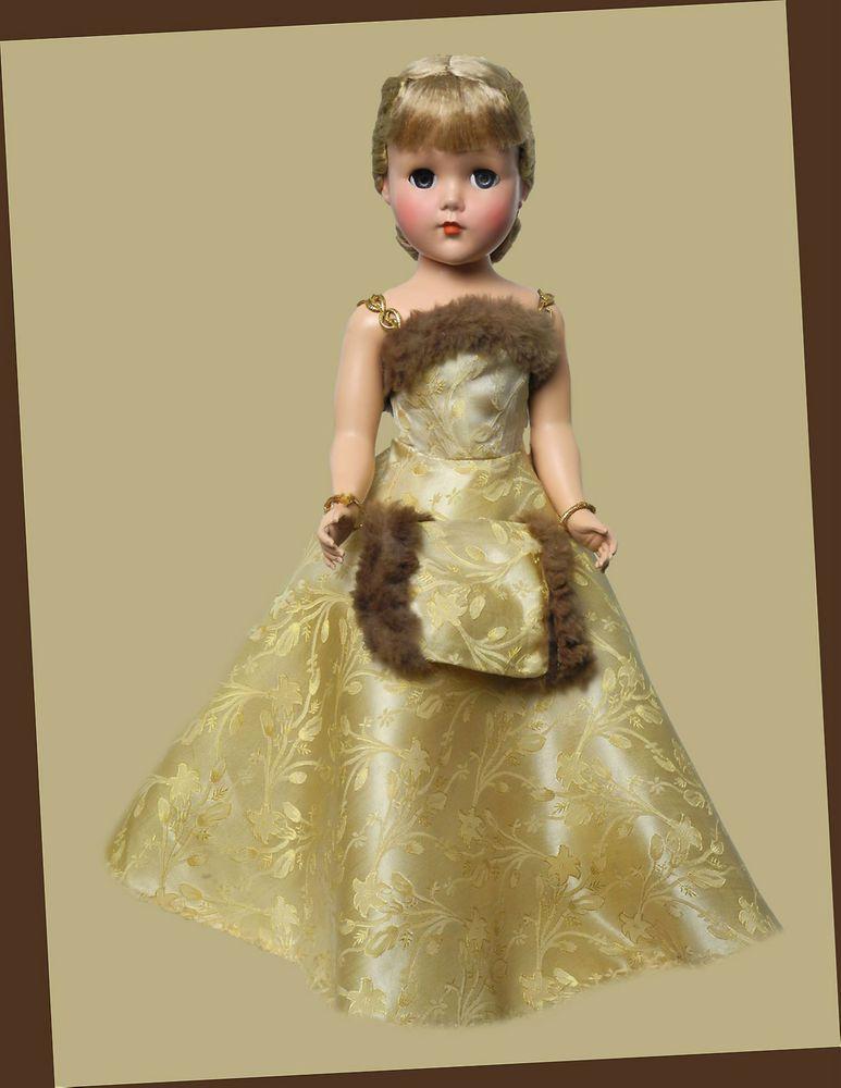 """18"""" NANETTE..ARRANBEE...ALL ORIGINAL IN GOLD BROCADE FORMAL W/MUFF..W/FUR"""