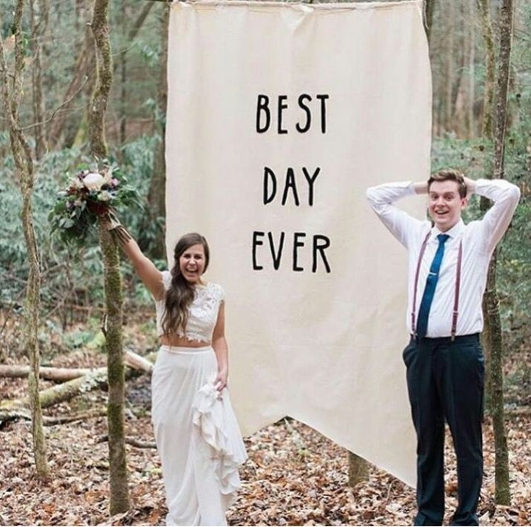 "Best Time Of Day For Wedding: Large Pennant Banner Sign ""best Day Ever"" Wedding Backdrop"