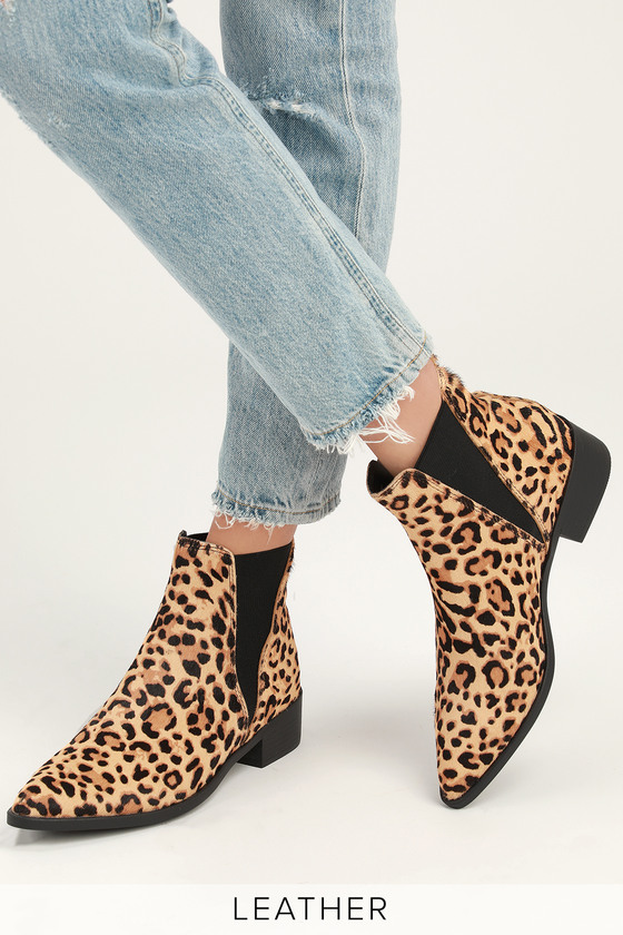 6db32bf823a Lulus | Jerry Leopard Calf Hair Pointed Toe Ankle Booties | Size 9.5 ...