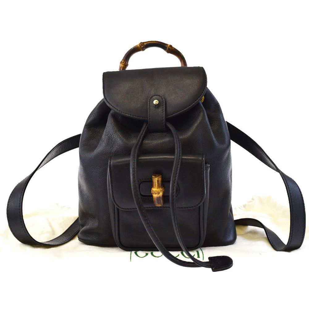 b4e0ca14e Authentic GUCCI Logos Bamboo Mini Backpack Bag Leather Black Italy 32EF938  #fashion #clothing #shoes #accessories #womensbagshandbags (ebay link)