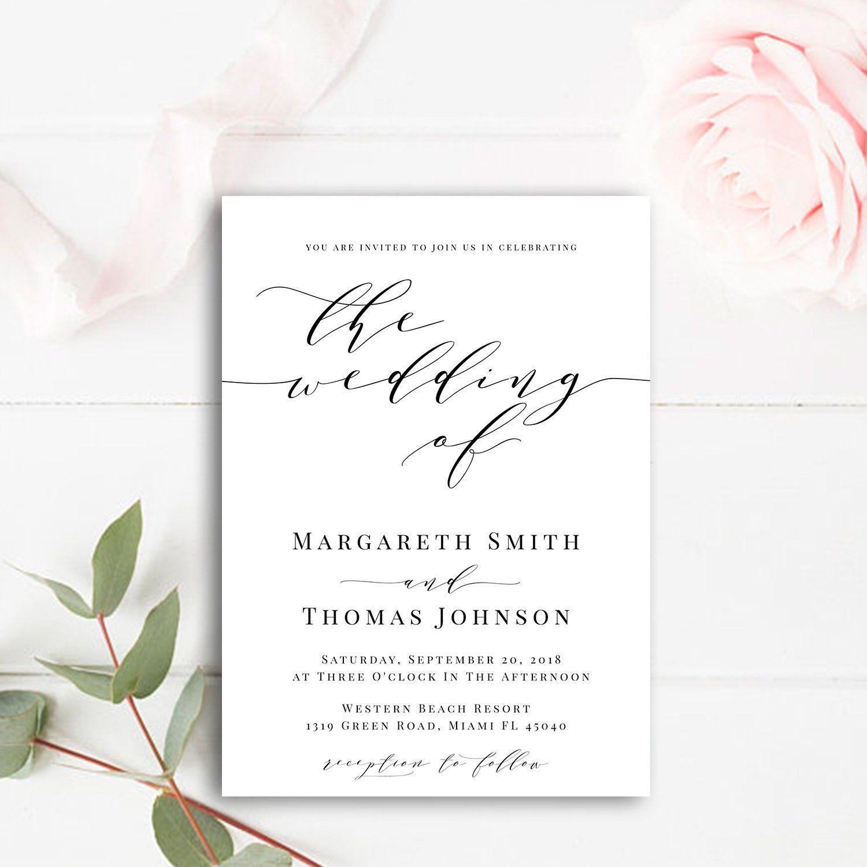 Modern Wedding Invitation Template Editable Wedding Invitation Modern Invitation Simple Wedding Invite Printable Wedding Invite Download