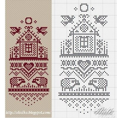 sheep and house red and white chart. Nice changes to the pattern