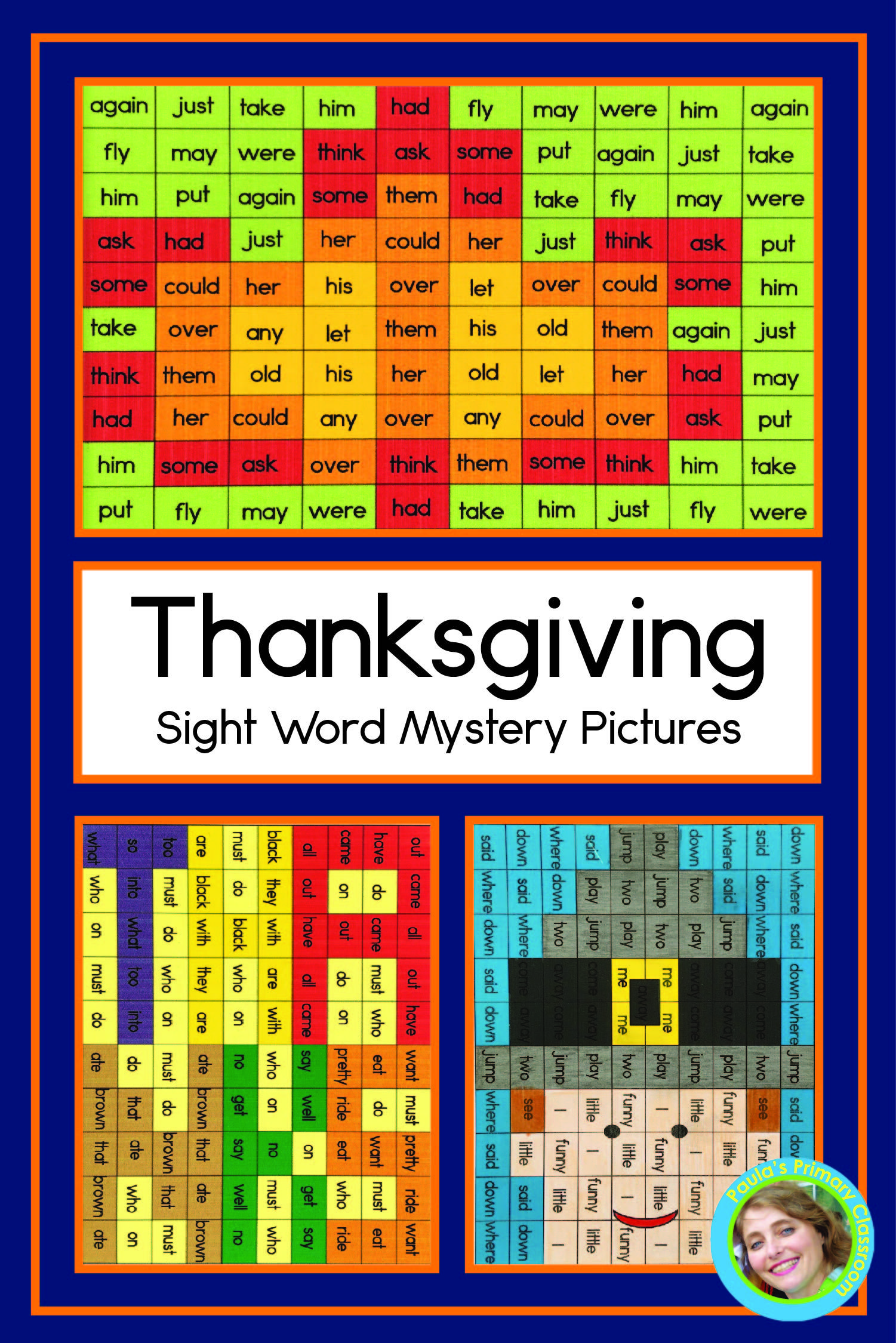 Thanksgiving Sight Word Worksheets Mystery Pictures Pre
