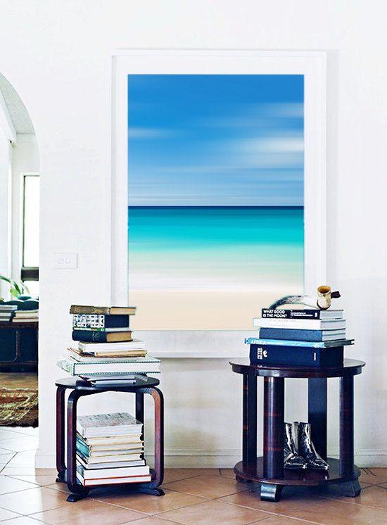 Abstract Beach Photo Large Vertical Wall Art Aqua Blue ...