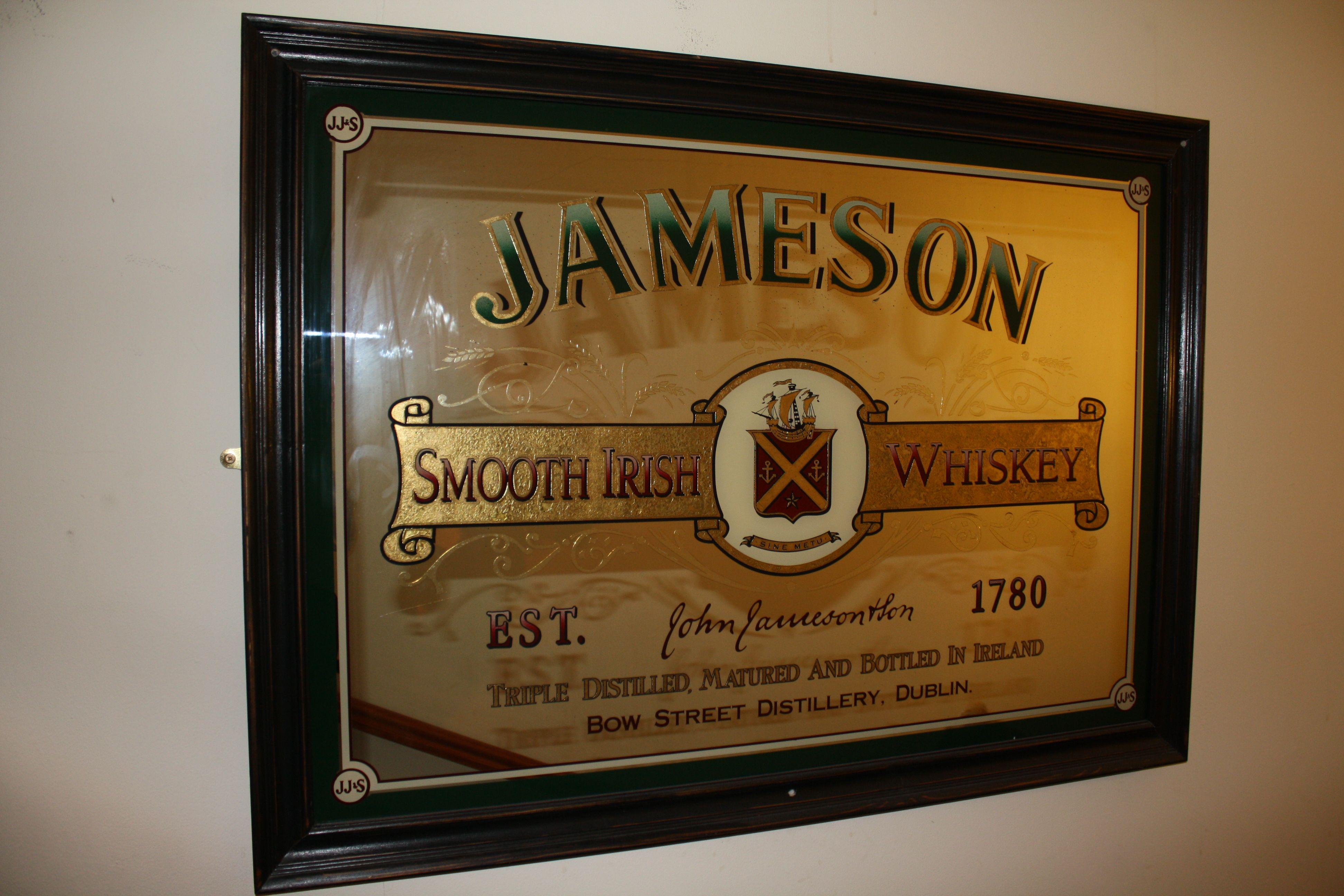 Jameson Classic Irish Whiskey Pub Mirror - And Bar Decor Rareirishstuff