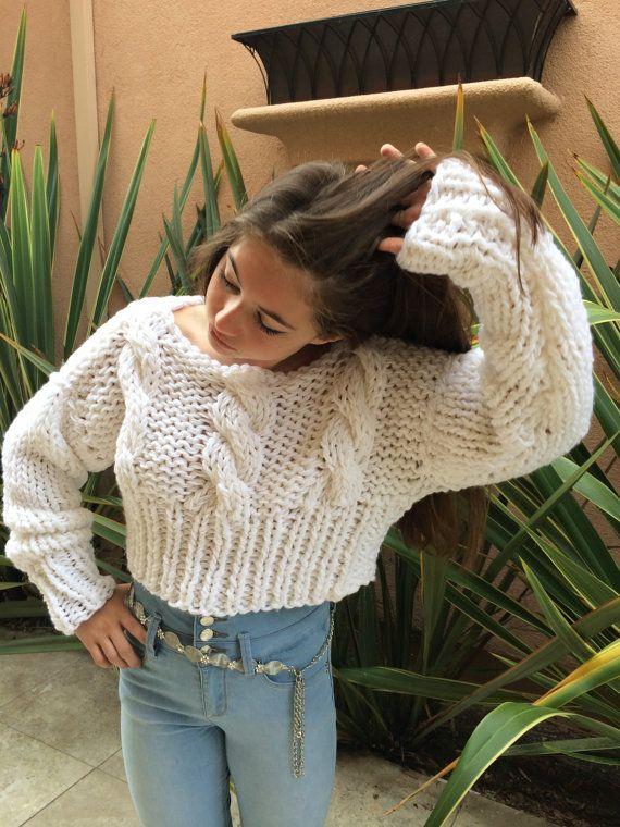 V Neck Sweater for Women Knit Sweater  Long sleeve Chunky Knit Sweater Cropped sweater Hand knit sweater women  Christmas Gift for Her