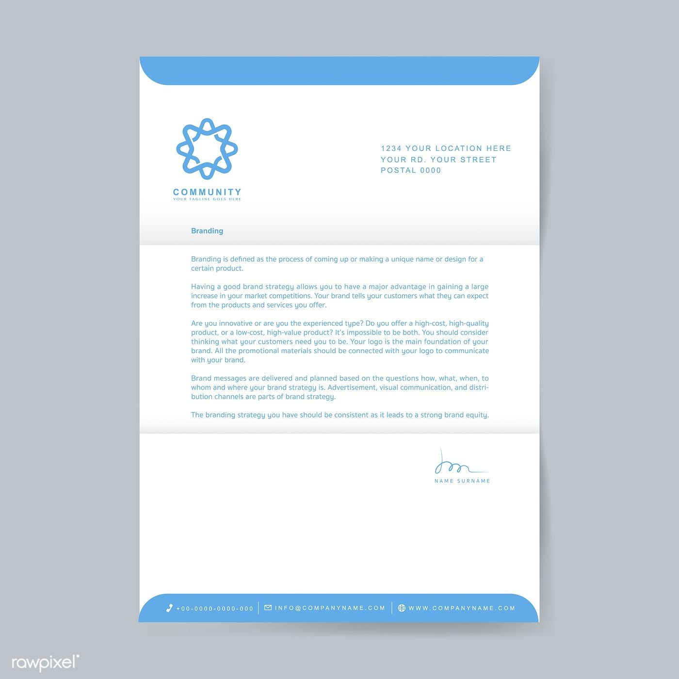 Business Letterhead Sample Design Template Free Image By Rawpixel Com Letterhead Sample Letterhead Design Template