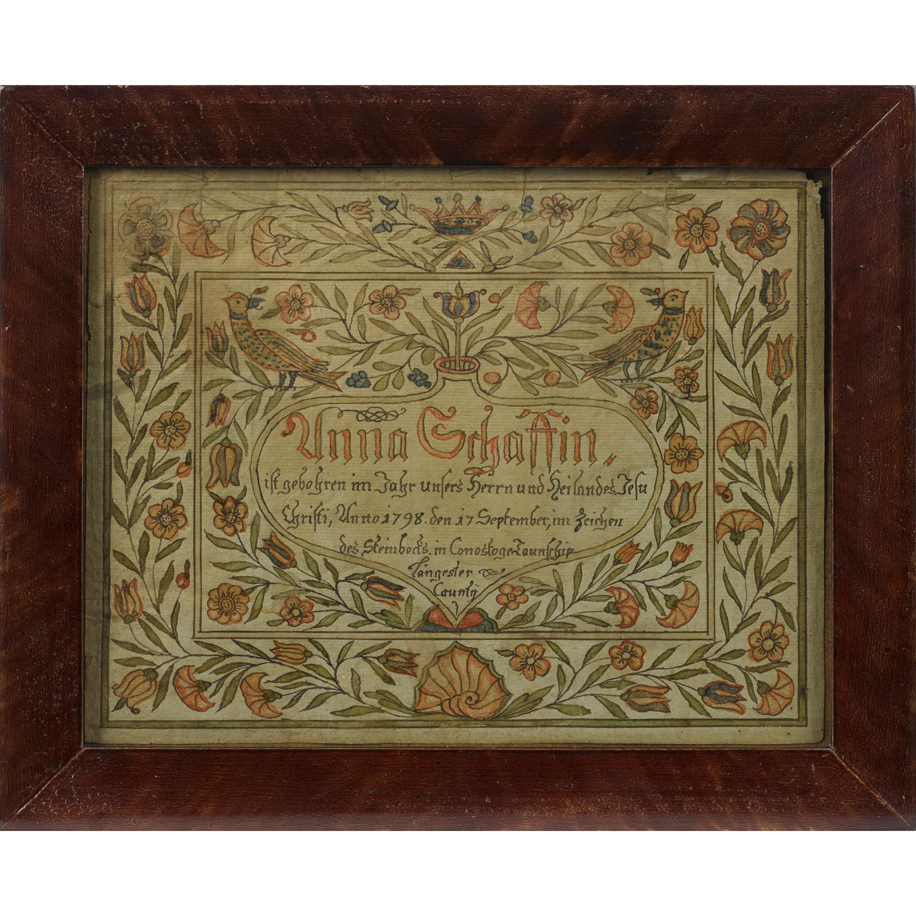Johannes schopp artist pennsylvania active 1774 1800 lancaster johannes schopp artist pennsylvania active lancaster county watercolor and ink fraktur birth certificate x provenance the estate of frances and frank yadclub Gallery
