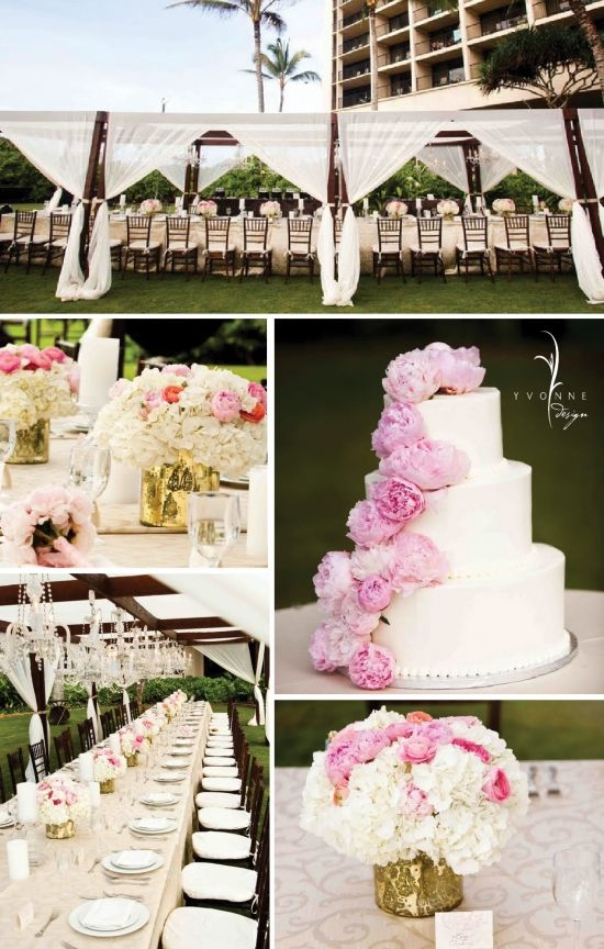 pink and gold wedding on beach