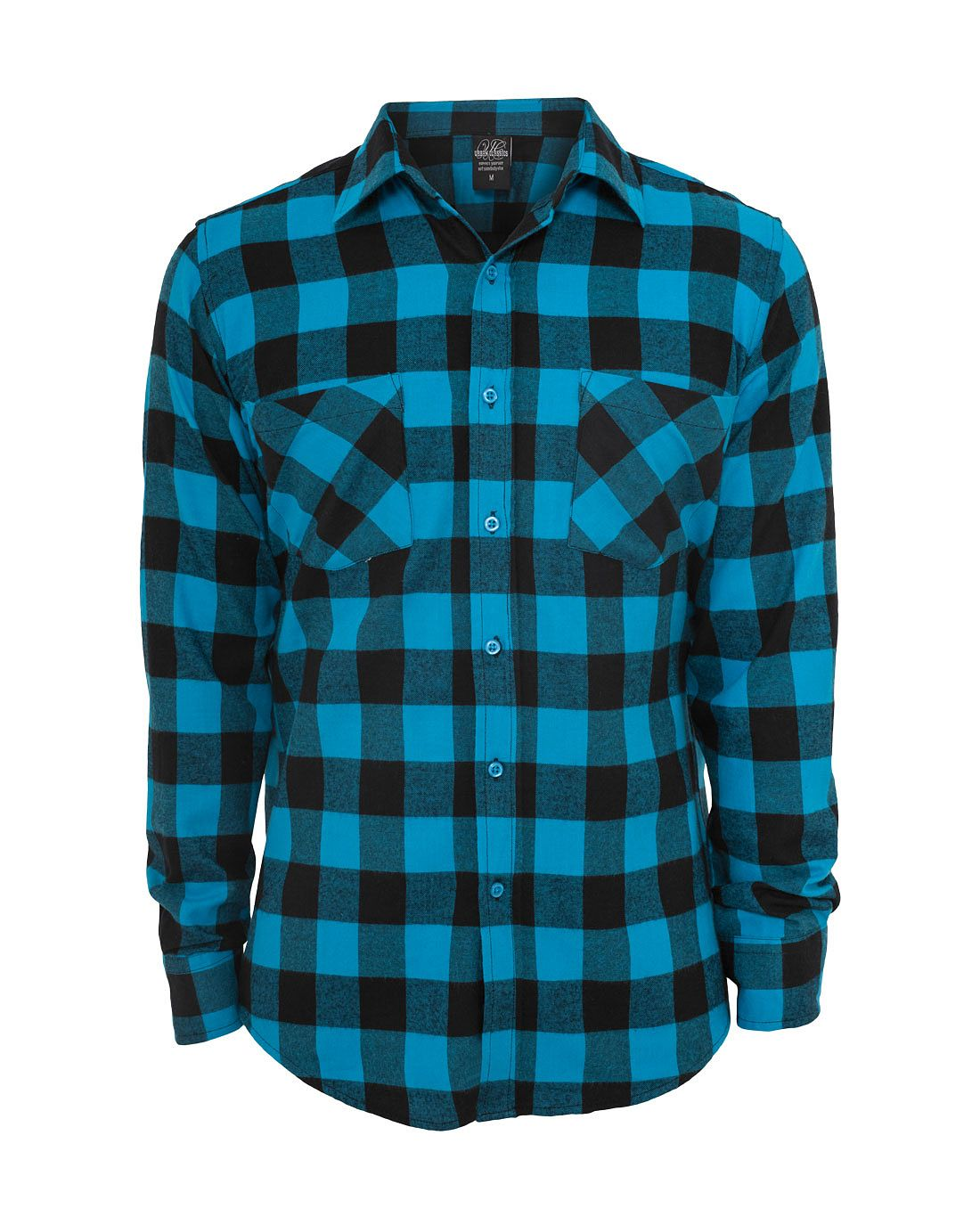 pictures of turquoise items   URBAN CLASSICS Checked Flanell Shirt black/turquoise Hemden für ...