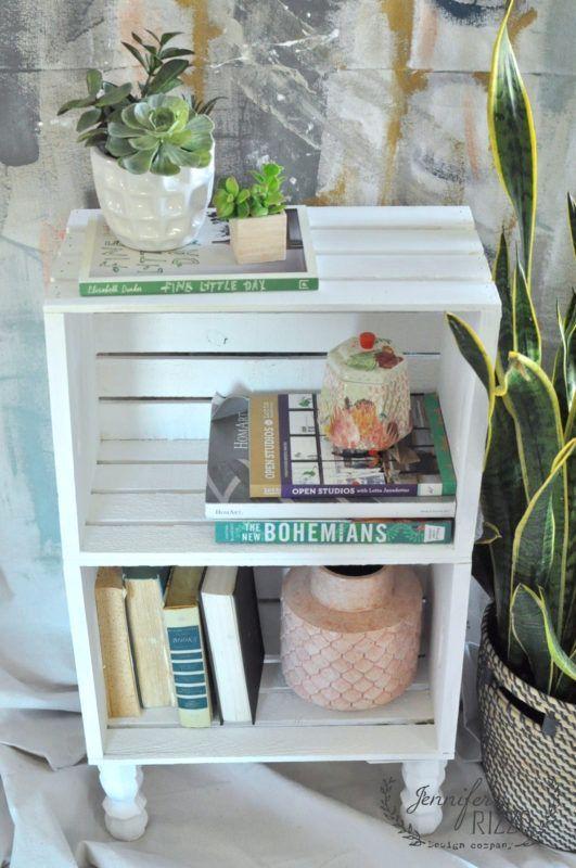 DIY crate side table for easy storage #palletbedroomfurniture