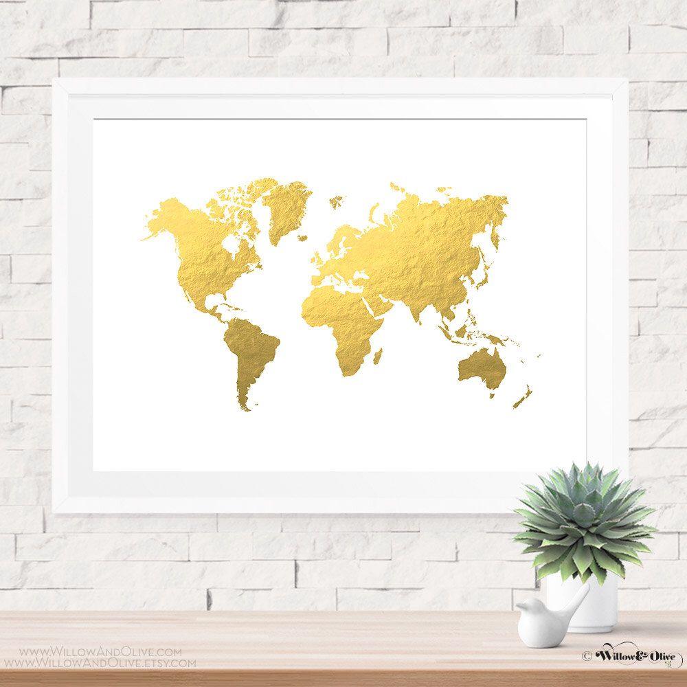 Gold World Map, Art Print Poster, World Map Print, Faux Gold Art ...