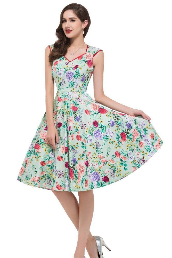 1950-er Vintage Kleid mit Blumen | mode | Pinterest | 1950er ...