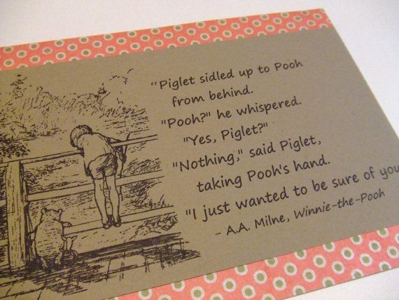 003 Sure of You Winnie the Pooh Quote Classic Piglet and