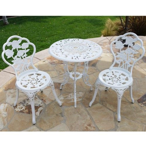 Bellezza Patio Furniture Cast Aluminum Tulip Design Bistro Set In Antique White