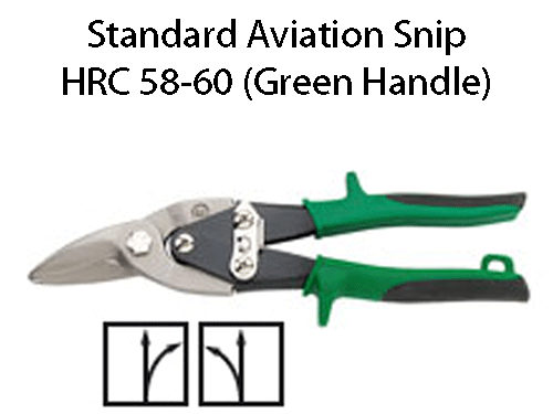 Erdi Tools Aviation and offset aviation snips feature high quality German precision in a compound action tin snip featuring compact yet strong design and comfortable plastic coated handles for a firm grip. Erdi aviation snips with Green Handles are HRC (Rockwell Hardness) 58-60. These snips are suitable for general purpose use in cutting copper, zinc and 24-22 gauge steel products.