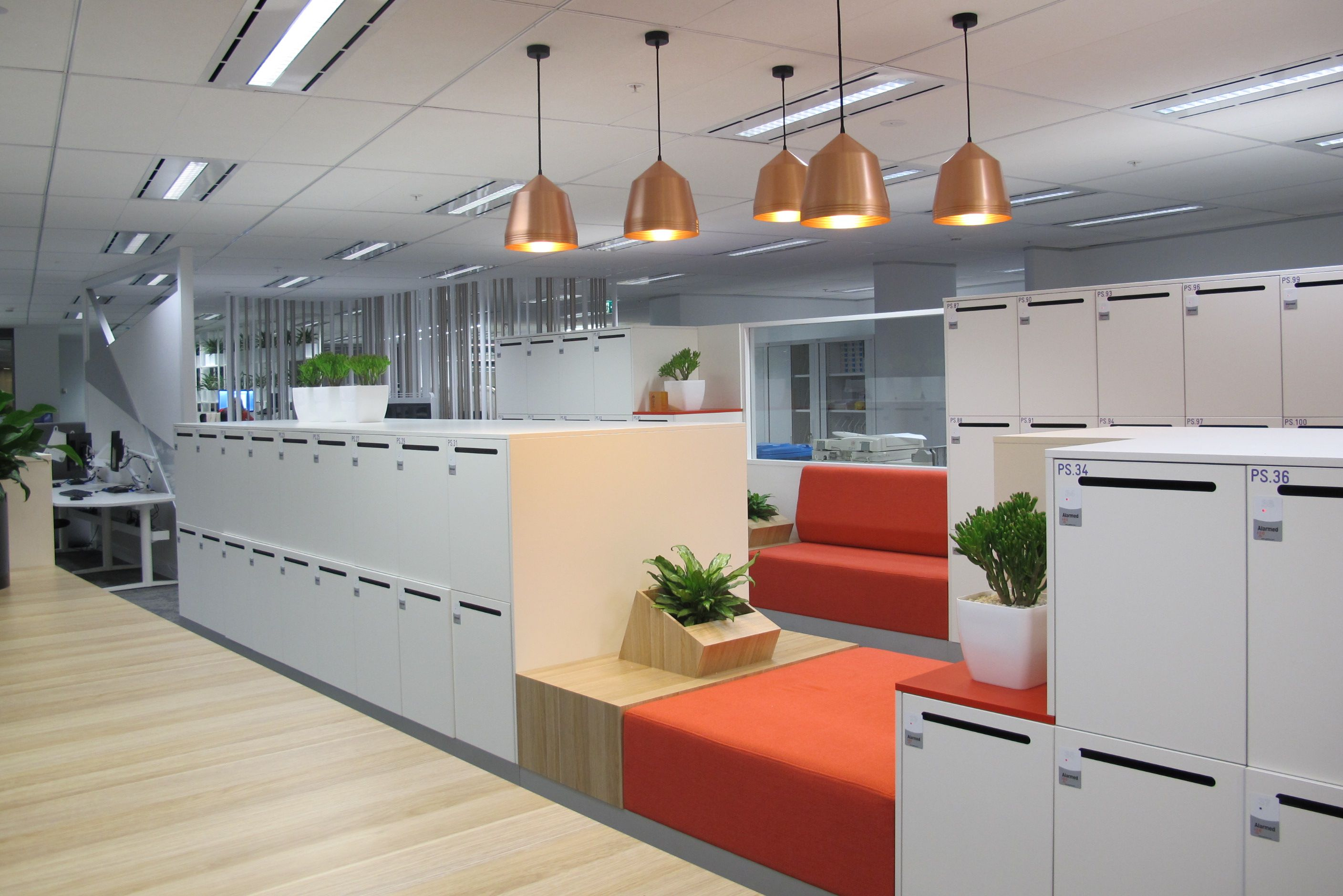 Locker area agile working workplace of the future - Commercial interior design codes ...
