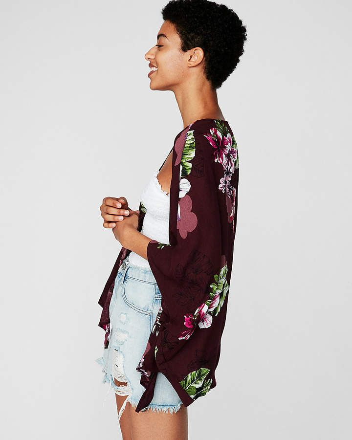fab718f64e Express Floral Tie Front Kimono Sleeve Top