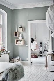 Inspiration Deco Interieurs Gris Smoke Ou Vert D Eau Blanc Et Bois Clair Peinture Vert De Gris Deco Couleur Mur Salon