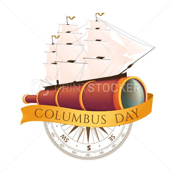Happy Columbus Day Celebrating Emblem America Discover Holiday Symbol Vector Illustration With Antique Ship Or Sailboat Spyglass Ancient Compass And Golden Happy Columbus Day Holiday Symbols Columbus Day 2020