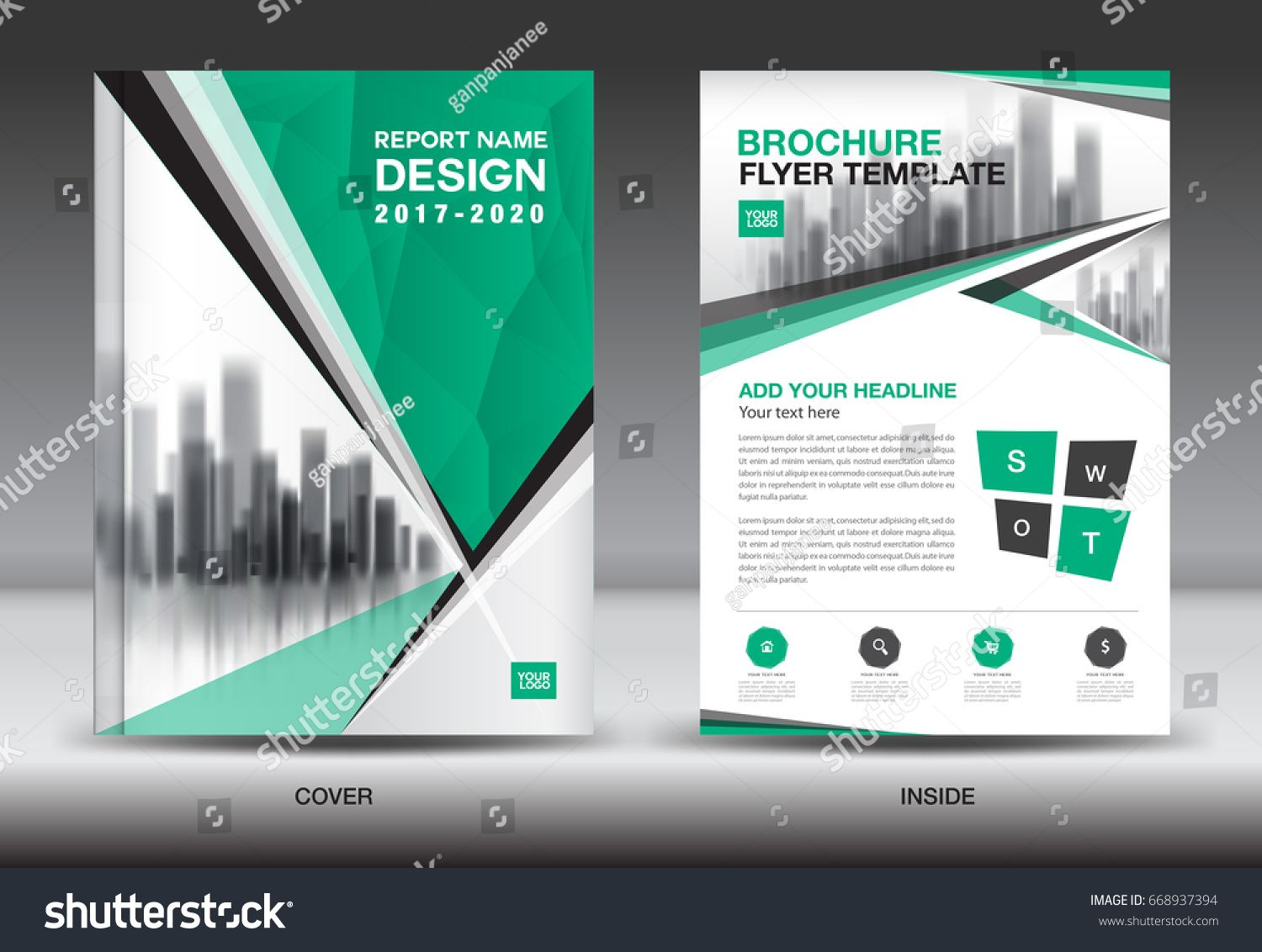 Annual report brochure flyer template, Green cover design