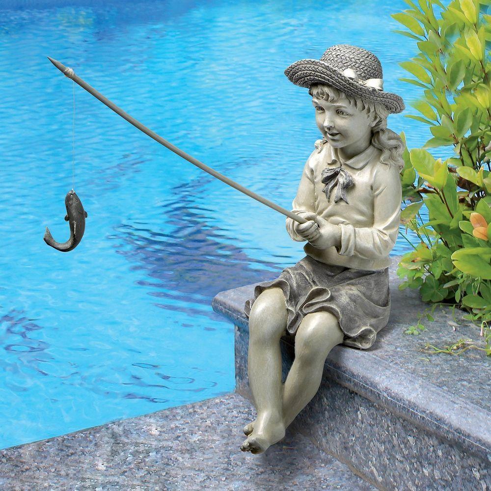 Garden Sculpture Yard Statue Art Large Outdoor Decor Girl Fish