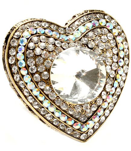 Big Crystal Heart Locket Stretch Ring Poison Antique Gold Tone