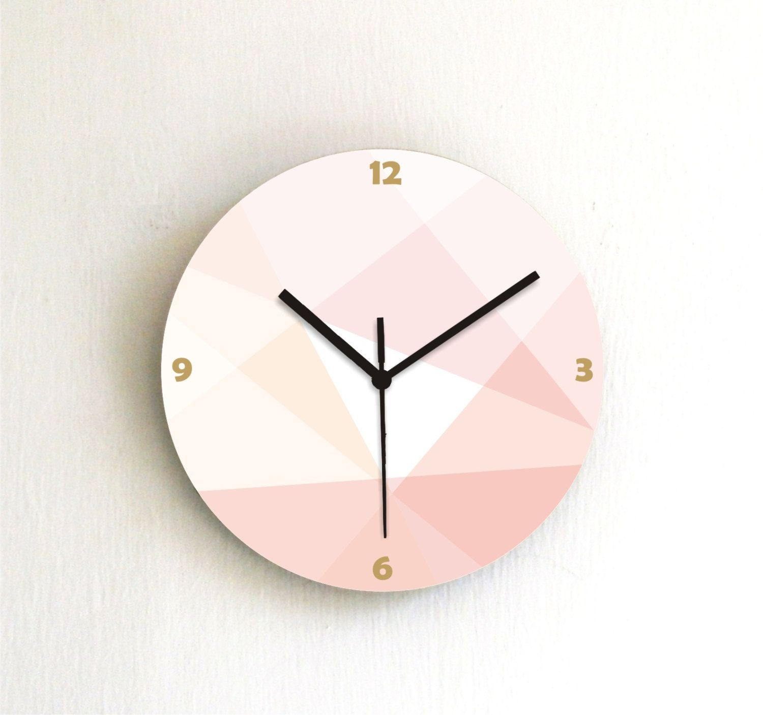 Wall clock peach pink salmon beige soft pastel round clock by ArtisEverything on Etsy