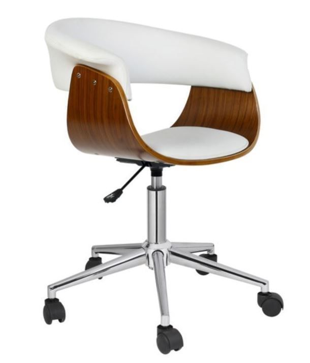 White Desk Chair Back Support Vanity Computer Mid Century Modern Retro Wooden Porthoshome Midcentury With Images Modern Office Chair Adjustable Office Chair Office Chair