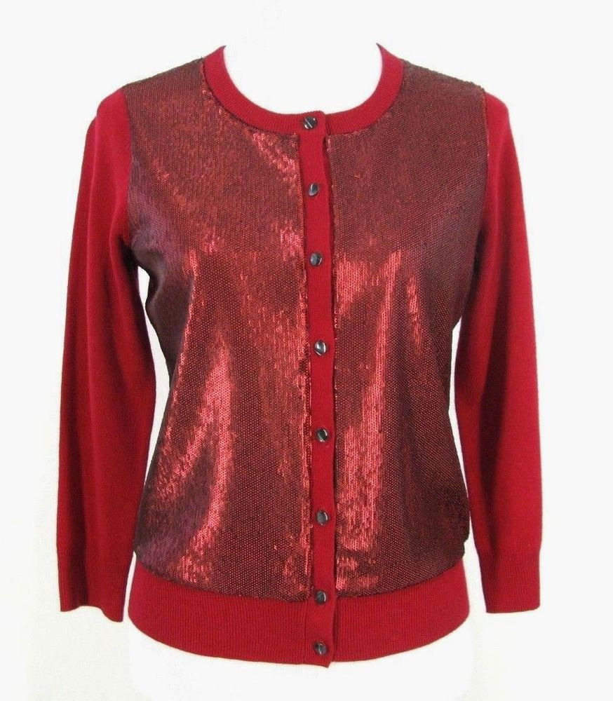 NWT BANANA REPUBLIC L'WREN SCOTT Cardigan RED SEQUIN Sweater Top ...