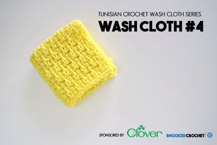 Clover Tunisian Wash Cloth Series: Pattern 4 | Crochet, Tunisian ...