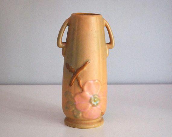 1930s Weller Wild Rose Vase Fine Art Ceramics Antique Art Pottery