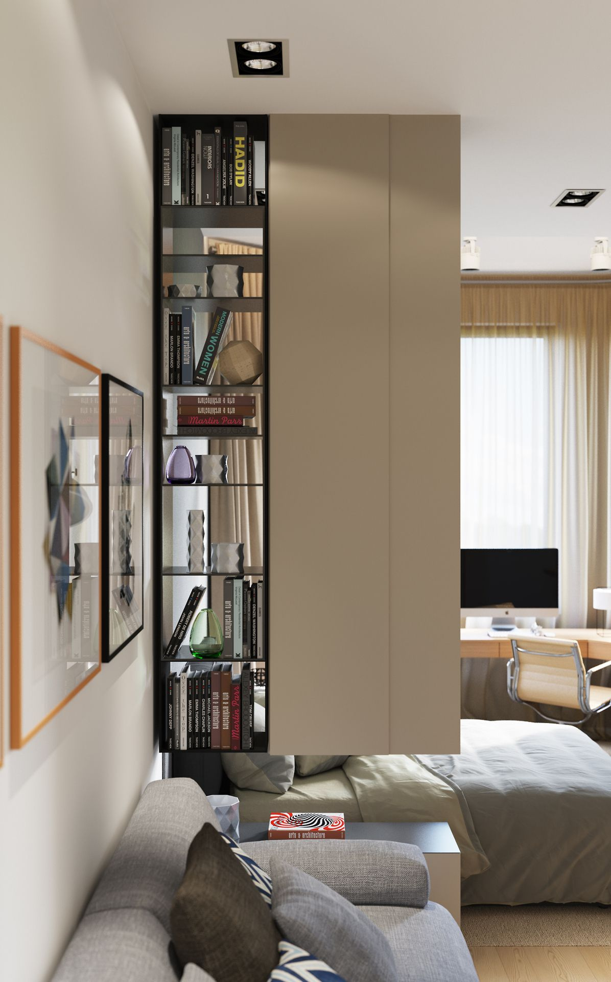 Bookshelf Anchored From The Ceiling As A Room Divider For Small