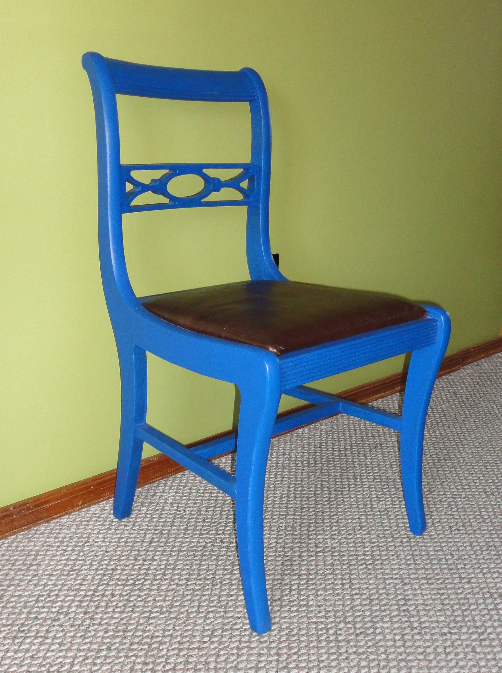 Blue Side Chair with Leather Seat Hidden Gem Furniture Old