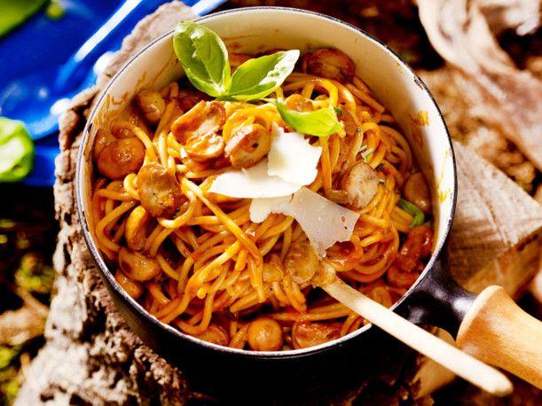 Spaghetti mit Pilz-Sahnesoße (One-Pot-Pasta) Rezept Pasta, Food - italienische küche rezepte