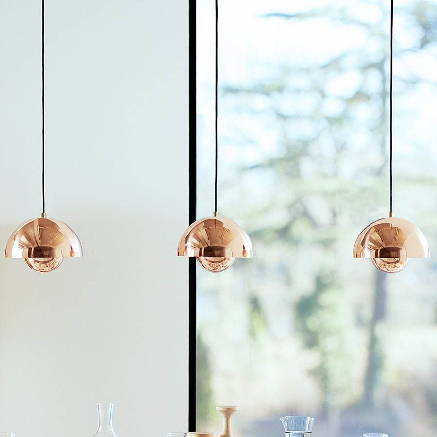 verner panton flowerpot lamp vp1 pendant light copper | stardust